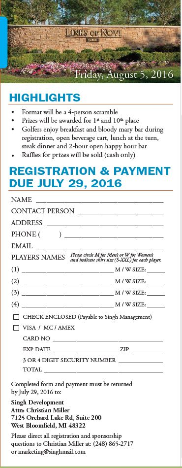 ASA Golf Outing Registration Form